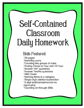 Homework for Special  Education Classroom -Daily for 36 Weeks