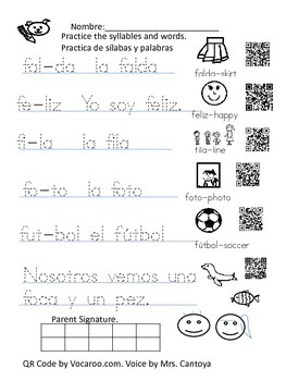 Homework for letter F in Spanish Qr code voice included