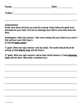 Homework for reading and writing (k-2)