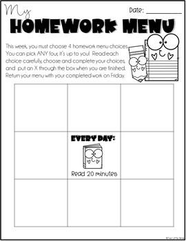 Editable Homework Menu