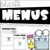 Editable Homework Menu