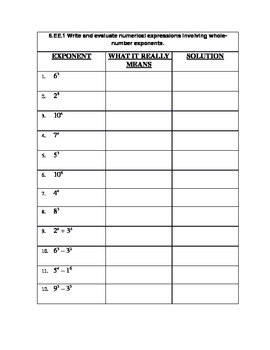 Homework on Exponents