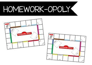 Homework-opoly template - Homework menu