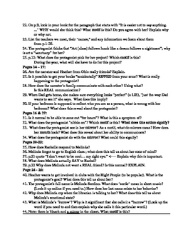 Homework or Discussion Questions for the novel Speak by Laurie Halse Anderson