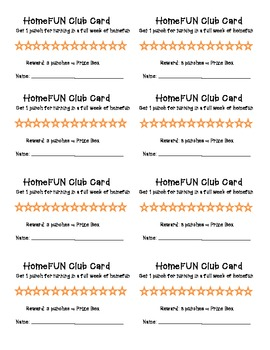Homework or HomeFun Punch Card