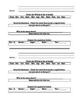 Homework or Morning Work Journal (Beginning Readers)