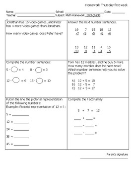 Homework or end of the week test 2nd grade English First semester