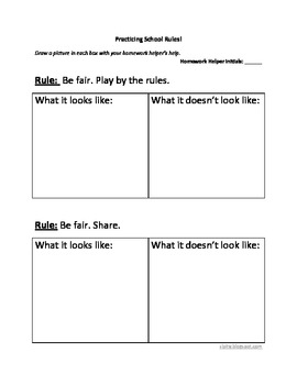 Homework: practicing school rules