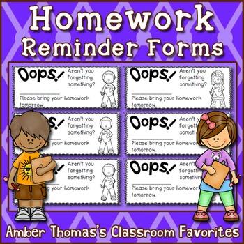 Homework reminder forms
