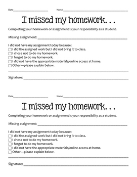 Homework responsibility form for students