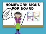Homework signs for board with hashtag