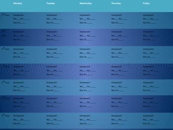 Homework self-monitoring chart