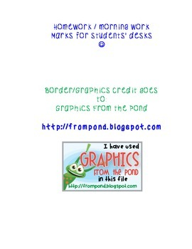Homework/Morning work student desk top signs