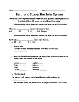 Homework/Worhseet on the Solar System