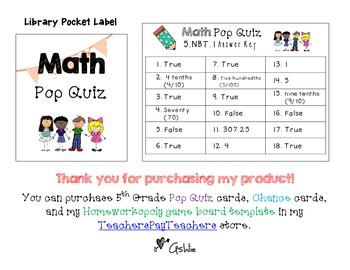 Homeworkopoly Math Pop Quiz Task Cards (5.NBT.1)