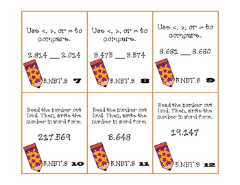 Homeworkopoly Math Pop Quiz Task Cards (5.NBT.3)