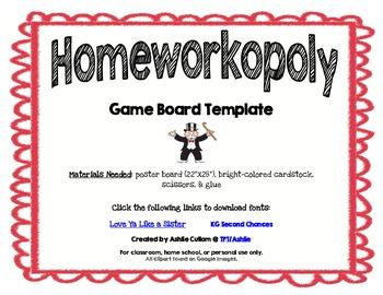 Homeworkopoly Template