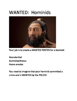Hominid Wanted Poster (Activity)