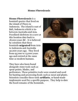 Homo Floresiensis Common Core Reading and Writing Activities