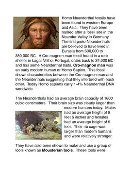 Homo Neanderthalensis Common Core Activity