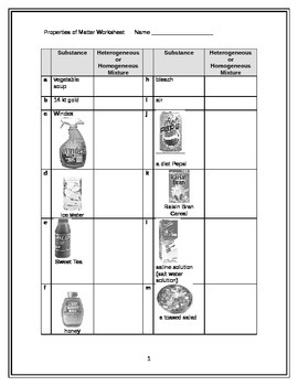 Homo/Heterogeneous mixtures worksheet