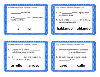 homofonos homophones spanish by cantu 39 s educational tools tpt. Black Bedroom Furniture Sets. Home Design Ideas