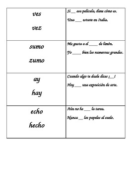 homofonos spanish homophones by sandia watermelon tpt. Black Bedroom Furniture Sets. Home Design Ideas