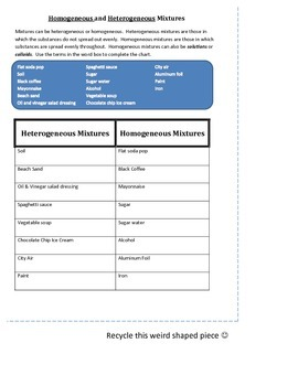Homogeneous and Heterogeneous Mixtures practice