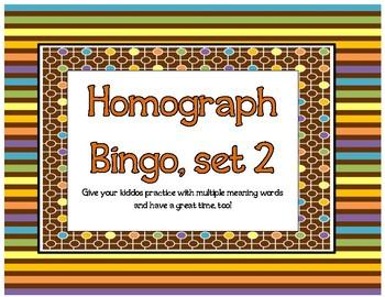Homograph Bingo, set 2