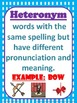Homograph Cards with Heterograph and Heteronym Illustrations