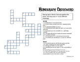 Homograph Crossword and List