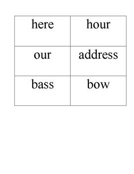 Homograph/Homophone Word Sort Activity