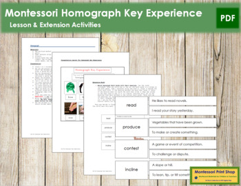 Homograph Key Experience & Materials - Elementary