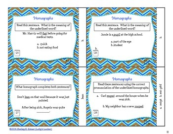 Homograph Task Cards