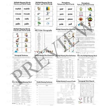 Homograph and Multiple Meaning Words Activity Packet and Worksheets