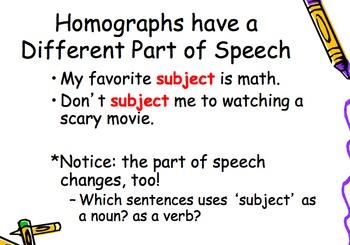 Homographs vs Homophones Powerpoint