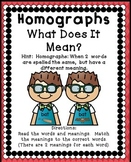 Homographs Activities | Multiple MeaningWords