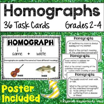 Homographs Poster and Task Cards