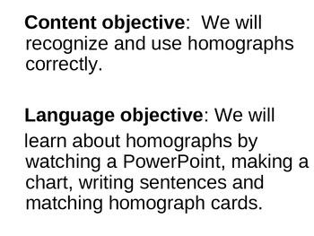 Homographs: A SIOP Power Point Lesson