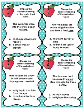 Homographs Activities-Task Cards, Matching Activity, & Coloring Activity