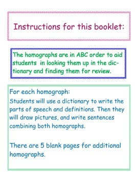 Homographs Booklet