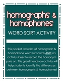 Homographs & Homophones Word Sort Activity for Grades 2, 3
