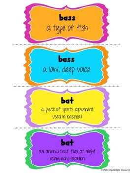 Homographs Lesson: group game and independent writing activity