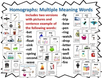 Homographs: Multiple Meaning Words