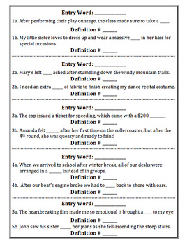 Homographs/Multiple Meaning Words Dictionary Practice Task Cards