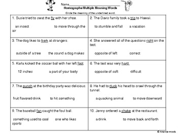 Multiple Meaning Words Worksheets 5Th Grade Worksheets for all ...