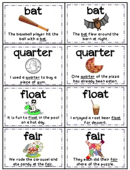 Homographs (Multiple Meaning Words) Memory - Aligned with Common Core Standards