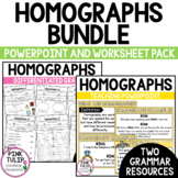 Homographs Bundle - Worksheet Pack and Guided Teaching PowerPoint