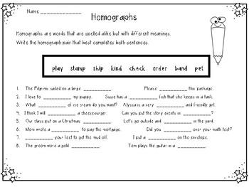 Homographs Practice