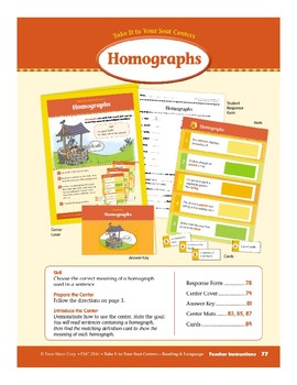 Homographs (Take It to Your Seat Centers)